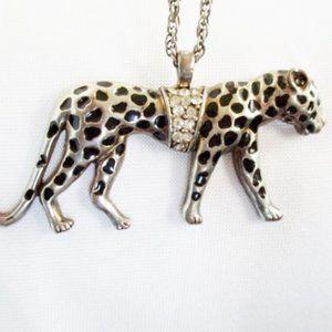 LEOPARD NECKLACE Animal Silver JAGUAR Panther